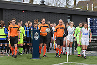 referee Florian Stove with assistant referee Michele Seeldraeyers and Beau Van Vaerenbergh  pictured entering the pitch with the players of both teams during a female soccer game between Club Brugge Dames YLA and Oud Heverlee Leuven on the first matchday in Play-Off 1 of the 2020 - 2021 season of Belgian Scooore Womens Super League , saturday 3 th April 2021  in Brugge , Belgium . PHOTO SPORTPIX.BE | SPP | DIRK VUYLSTEKE