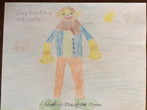 Stay healthy and safe. Drawing by Henry Patrick Grade 2, Yarmouth ME, USA