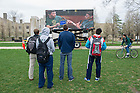 Apr 28, 2014; Students watch the live broadcast of Notre Dame Day on a large screen on North Quad. Photo by Barbara Johnston/University of Notre Dame