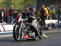 Jun 16, 2017; Bristol, TN, USA; NHRA top fuel nitro Harley Davidson motorcycle rider Rickey House during qualifying for the Thunder Valley Nationals at Bristol Dragway. Mandatory Credit: Mark J. Rebilas-USA TODAY Sports