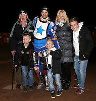 Rory Schlein collects the trophy from the Richardson family - Lakeside Hammers v Rico's All Stars, The Rico Spring Classic at the Arena Essex Raceway, Pufleet - 20/03/15 - MANDATORY CREDIT: Rob Newell/TGSPHOTO - Self billing applies where appropriate - 0845 094 6026 - contact@tgsphoto.co.uk - NO UNPAID USE