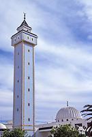 Ceramics, Nabeul, Tunisia.  Minaret Decorated in Ceramic Tiles.