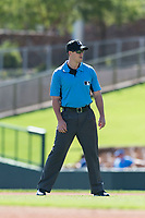 Field umpire Brennan Miller during an Arizona Fall League game between the Mesa Solar Sox and the Glendale Desert Dogs at Camelback Ranch on October 15, 2018 in Glendale, Arizona. Mesa defeated Glendale 8-0. (Zachary Lucy/Four Seam Images)
