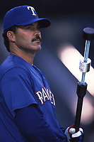 Rafael Palmeiro of the Texas Rangers during a 2001 season MLB game at Angel Stadium in Anaheim, California. (Larry Goren/Four Seam Images)
