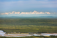 Aerial of the Tanana River and the Alaska Range, Fairbanks, Alaska.