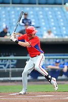 Zachary Sullivan (3) of Corning Painted Post East High School in Corning, New York playing for the Philadelphia Phillies scout team during the East Coast Pro Showcase on August 1, 2013 at NBT Bank Stadium in Syracuse, New York.  (Mike Janes/Four Seam Images)