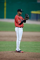 Batavia Muckdogs relief pitcher Manuel Rodriguez (47) looks in for the sign during a game against the West Virginia Black Bears on June 19, 2018 at Dwyer Stadium in Batavia, New York.  West Virginia defeated Batavia 7-6.  (Mike Janes/Four Seam Images)