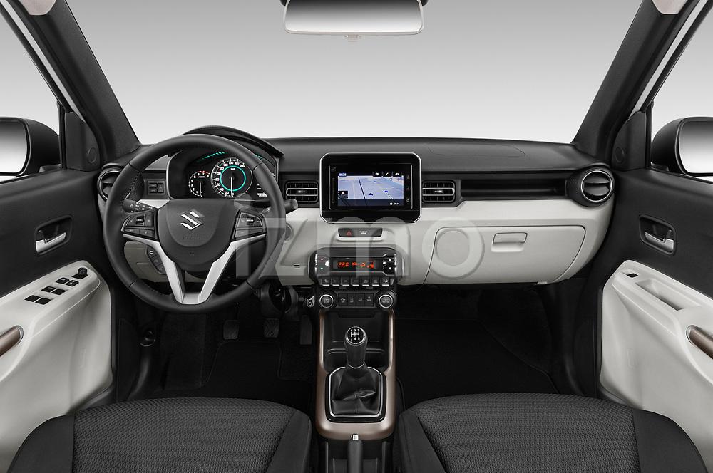Stock photo of straight dashboard view of a 2018 Suzuki Ignis GLX 5 Door Hatchback