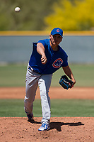 Chicago Cubs relief pitcher Jesus Camargo (41) delivers a pitch to the plate during an Extended Spring Training game against the Colorado Rockies at Sloan Park on April 17, 2018 in Mesa, Arizona. (Zachary Lucy/Four Seam Images)