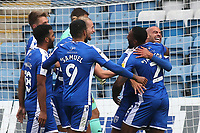 Ryan Jackson congratulates Jordan Graham after scoring Gillingham's third goal during Gillingham vs Oxford United, Sky Bet EFL League 1 Football at the MEMS Priestfield Stadium on 10th October 2020