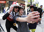 Calgary, AB - June 6 2014 - A young fan takes a selfie with an Olympian during the Celebration of Excellence Parade of Champions. (Photo: Matthew Murnaghan/Canadian Paralympic Committee)