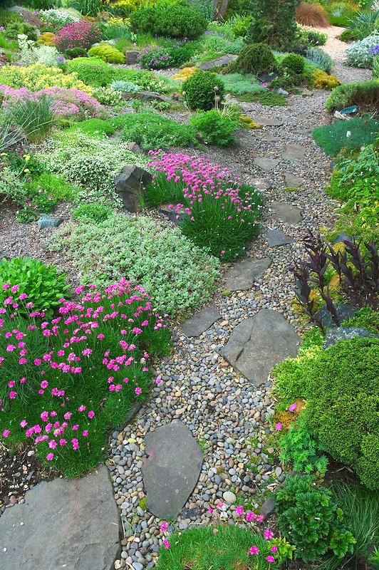 Path and rock garden at Northwest Garden Nursery, Eugene, Oregon