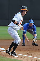 First Baseman Davis Morgan #30 Leads off third during a  game against the Kentucky Wildcats at Lindsey Nelson Stadium on March 24, 2012 in Knoxville, Tennessee. The game was suspended in the bottom of the 5th with the Wildcats leading 5-0. Tony Farlow/Four Seam Images.