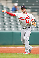 Pete Kozma (13) in action during the MiLB matchup between the Memphis Redbirds and the Oklahoma City Redhawks at Chickasaw Bricktown Ballpark on April 8th, 2012 in Oklahoma City, Oklahoma. The Redhawks defeated the Redbirds 8-1  (William Purnell/Four Seam Images)