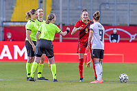 referees, Belgian Tessa Wullaert (9) and German Svenja Huth (9) pictured before a friendly female soccer game between the national teams of Germany and  Belgium , called the Red Flames  in a pre - bid tournament called Three Nations One Goal with the national teams from Belgium , The Netherlands and Germany towards a bid for the hosting of the 2027 FIFA Women's World Cup , on Sunday 21 st of February 2021  in Aachen , Germany . PHOTO SPORTPIX.BE   SPP   STIJN AUDOOREN
