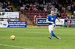 Arbroath v St Johnstone…15.08.21  Gayfield Park      Premier Sports Cup<br />Liam Craig scores his penalty<br />Picture by Graeme Hart.<br />Copyright Perthshire Picture Agency<br />Tel: 01738 623350  Mobile: 07990 594431
