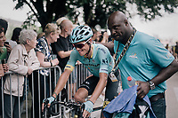 Jakob Fuglsang (DEN/Astana) being waited upon by the Astana team doctor at the finish after he had crashed seriously during the race. Afterward it was clear Fuglsang had (minorly) broken his wrist in 2 places, but would continu to race the next day.<br /> <br /> 104th Tour de France 2017<br /> Stage 11 - Eymet › Pau (202km)