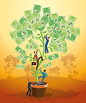 Illustration of businesspeople climbing potted plant of money
