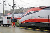 """- high-speed trains Eurostar """" Red Arrow """" at Milan Central Station<br /> <br /> - treni ad alta velocità Eurostar """" Freccia Rossa """" alla Stazione Centrale di Milano"""