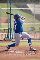 Gabriel Cancel (14) of the Kansas City Royals follows through on his swing during an Instructional League game against the San Francisco Giants at the Giants Training Complex on October 17, 2017 in Scottsdale, Arizona. (Zachary Lucy/Four Seam Images)