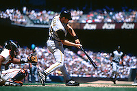 SAN FRANCISCO, CA - Adam Hyzdu of the Pittsburgh Pirates bats during a game against the San Francisco Giants at Pacific Bell Park in San Francisco, California in 2002. Photo by Brad Mangin