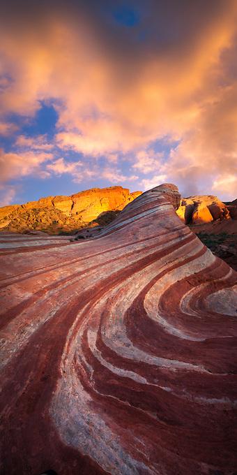 Blazing sunset over an interesting sandstone formation in the Nevada desert.