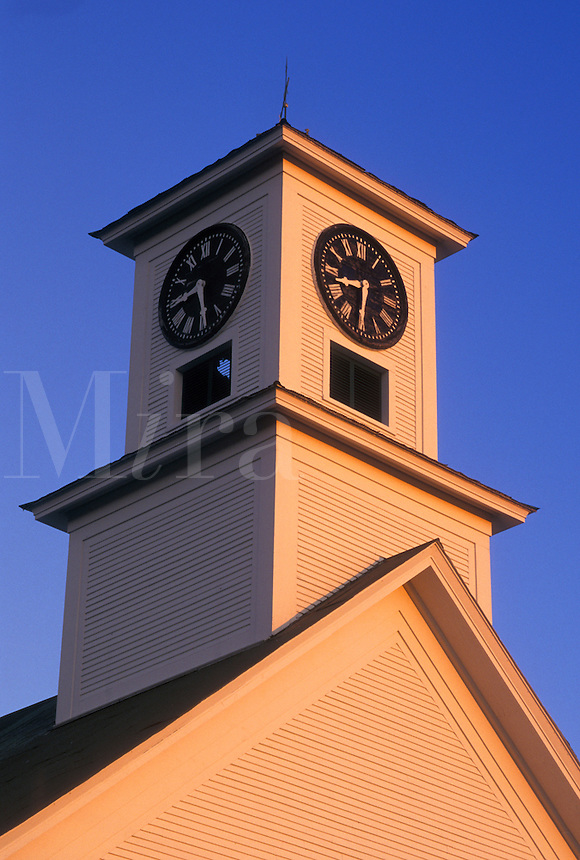 AJ4514, steeple, church, Vermont, Early morning light on the United Methodist Church steeple in Binghamville in Franklin County in the state of Vermont.