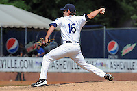 Asheville Tourists  pitcher Russell Brewer #16 delivers a pitch during a game against the Savannah Sand Gnats at McCormick Field on August 5, 2012 in Asheville, North Carolina. The Tourists defeated the Sand Gnats 5-4. (Tony Farlow/Four Seam Images).