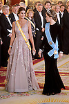 Juliana Awada and Queen Letizia of Spain during the gala dinner given to the President of the Argentine Republic, Sr. Mauricio Macri and Sra Juliana Awada at Real Palace in Madrid, Spain. February 19, 2017. (ALTERPHOTOS/BorjaB.Hojas)