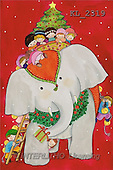 Interlitho, Soledad, CHRISTMAS CHILDREN, naive, paintings, elephant, kids, tree(KL2319,#XK#) Weihnachten, Navidad, illustrations, pinturas