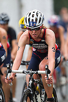 14 SEP 2013 - LONDON, GBR - Non Stanford (GBR) of Great Britain cycles in the lead pack during the elite women's ITU 2013 World Triathlon Series Grand Final in Hyde Park, London, Great Britain (PHOTO COPYRIGHT © 2013 NIGEL FARROW, ALL RIGHTS RESERVED)