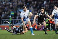 Matt Banahan of Bath Rugby is tackled during the LV= Cup match between Exeter Chiefs and Bath Rugby at Sandy Park Stadium on Sunday 5th February 2012 (Photo by Rob Munro)