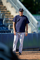 Staten Island Yankees pitching coach Travis Phelps (14) during a game against the Lowell Spinners on August 22, 2018 at Richmond County Bank Ballpark in Staten Island, New York.  Staten Island defeated Lowell 10-4.  (Mike Janes/Four Seam Images)