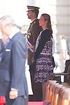 01.10.2012. The Spanish Royal Family, King Juan Carlos, Queen Sofia, Prince Felipe, Princess Letizia and Princess Elena attend the imposition of collective Distinguished Cross San Fernando Al Banner Armored Cavalry Regiment ´Alcántara´ No. 10 in the Royal Palace in Madrid, Spain. In the image Prince Felipe and Pricess Elena (Alterphotos/Marta Gonzalez)