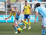 Forfar v St Johnstone….27.07.19      Station Park     Betfred Cup       <br />Gary Irvine and Ali McCann battle for the ball<br />Picture by Graeme Hart. <br />Copyright Perthshire Picture Agency<br />Tel: 01738 623350  Mobile: 07990 594431