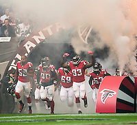 26.10.2014.  London, England.  NFL International Series. Atlanta Falcons versus Detroit Lions.  The  Atlanta Falcons enter Wembley Stadium.
