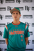 Miguel Angel Baez (7) of Florida Preparatory Academy in Republica Dominicana, Florida during the Baseball Factory All-America Pre-Season Tournament, powered by Under Armour, on January 12, 2018 at Sloan Park Complex in Mesa, Arizona.  (Zachary Lucy/Four Seam Images)