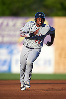 Mahoning Valley Scrappers first baseman Emmanuel Tapia (28) running the bases during a game against the Auburn Doubledays on July 19, 2016 at Falcon Park in Auburn, New York.  Mahoning Valley defeated Auburn 9-1.  (Mike Janes/Four Seam Images)