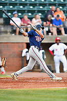 Elizabethton Twins Matt Wallner (48) swings at a pitch during a game against the Greenville Reds at Pioneer Park on June 29, 2019 in Greeneville, Tennessee. The Twins defeated the Reds 8-1. (Tony Farlow/Four Seam Images)
