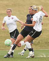 Abby Wambach (blue) of the Washington Freedom is challenged by Christie Shaner of Sky Blue F.C. during a WPS pre season match at Maryland Soccerplex,in Boyd's, Maryland on March 14 2009. Sky Blue won the match 1-0