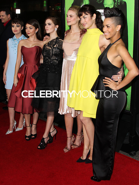 """LOS ANGELES, CA - FEBRUARY 04: Sami Gayle, Sarah Hyland, Zoey Deutch, Lucy Fry, Olga Kurylenko, Dominique Tipper at the Los Angeles Premiere Of The Weinstein Company's """"Vampire Academy"""" held at Regal Cinemas L.A. Live on February 4, 2014 in Los Angeles, California. (Photo by Xavier Collin/Celebrity Monitor)"""