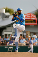 Myrtle Beach Pelicans pitcher Tyson Miller (17) on the mound during a game against the Carolina Mudcats at Ticketreturn.com Field at Pelicans Ballpark on June 15 , 2018 in Myrtle Beach, South Carolina. Carolina defeated Myrtle Beach 4-2. (Robert Gurganus/Four Seam Images)