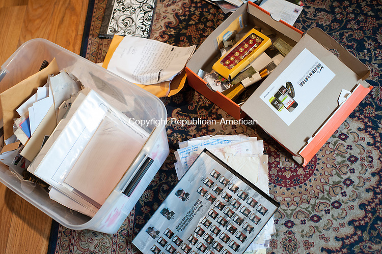WATERBURY, CT- 23 May 2016-052316EC13-  Jay Cooling keeps military mementos stored in a plastic foot locker at his home. Erin Covey Republican-American
