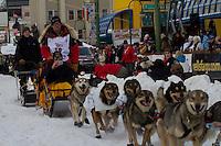 2010 Iditarod Ceremonial Start in Anchorage Alaska musher # 19 MITCH SEAVEY with Iditarider JANET SHELFER