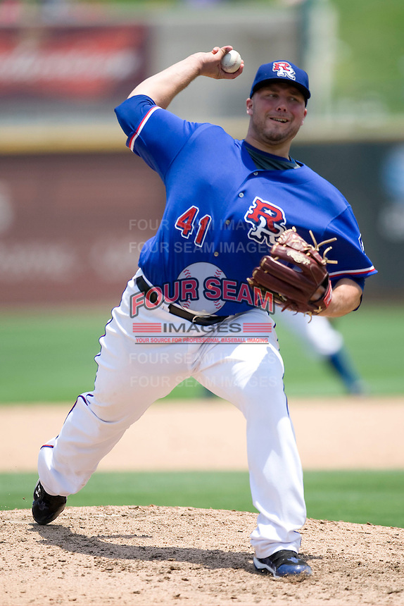 Texas Rangers pitcher Tommy Hunter #41 rehabs with the Round Rock Express against the Nashville Sounds in Pacific Coast League baseball on May 9, 2011 at the Dell Diamond in Round Rock, Texas. (Photo by Andrew Woolley / Four Seam Images)