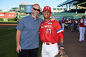 Kameron Ojeda (27) of St. John Bosco High School in La Mirada, California poses for a photo with former Chicago Cubs catcher David Ross before the Under Armour All-American Game presented by Baseball Factory on July 29, 2017 at Wrigley Field in Chicago, Illinois.  (Mike Janes/Four Seam Images)