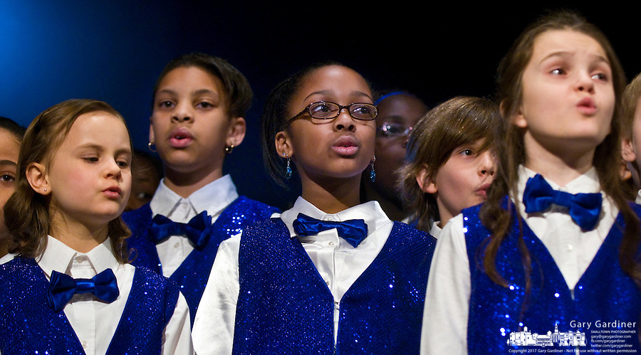 Children from the Voices of Hawthorne perform for celebrants gathered for the Westerville, ohio, Martin Luther King Day celebration. Photo Copyright Gary Gardiner. Not be used without written permission detailing exact usage.