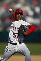 Francisco Rodriguez of the Anaheim Angels during a 2003 season MLB game at Angel Stadium in Anaheim, California. (Larry Goren/Four Seam Images)