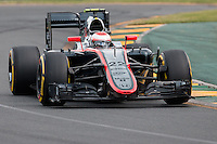 March 14, 2015: Jenson Button (GBR) #22 from the McLaren Honda team rounds turn two during qualification at the 2015 Australian Formula One Grand Prix at Albert Park, Melbourne, Australia. Photo Sydney Low