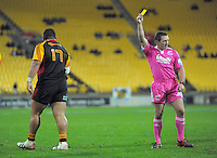 Referee Lourens van der Merwe sin bins Ben Tameifuna during the Super Rugby match between the Hurricanes and Chiefs at Westpac Stadium, Wellington, New Zealand on Friday, 17 May 2013. Photo: Dave Lintott / lintottphoto.co.nz